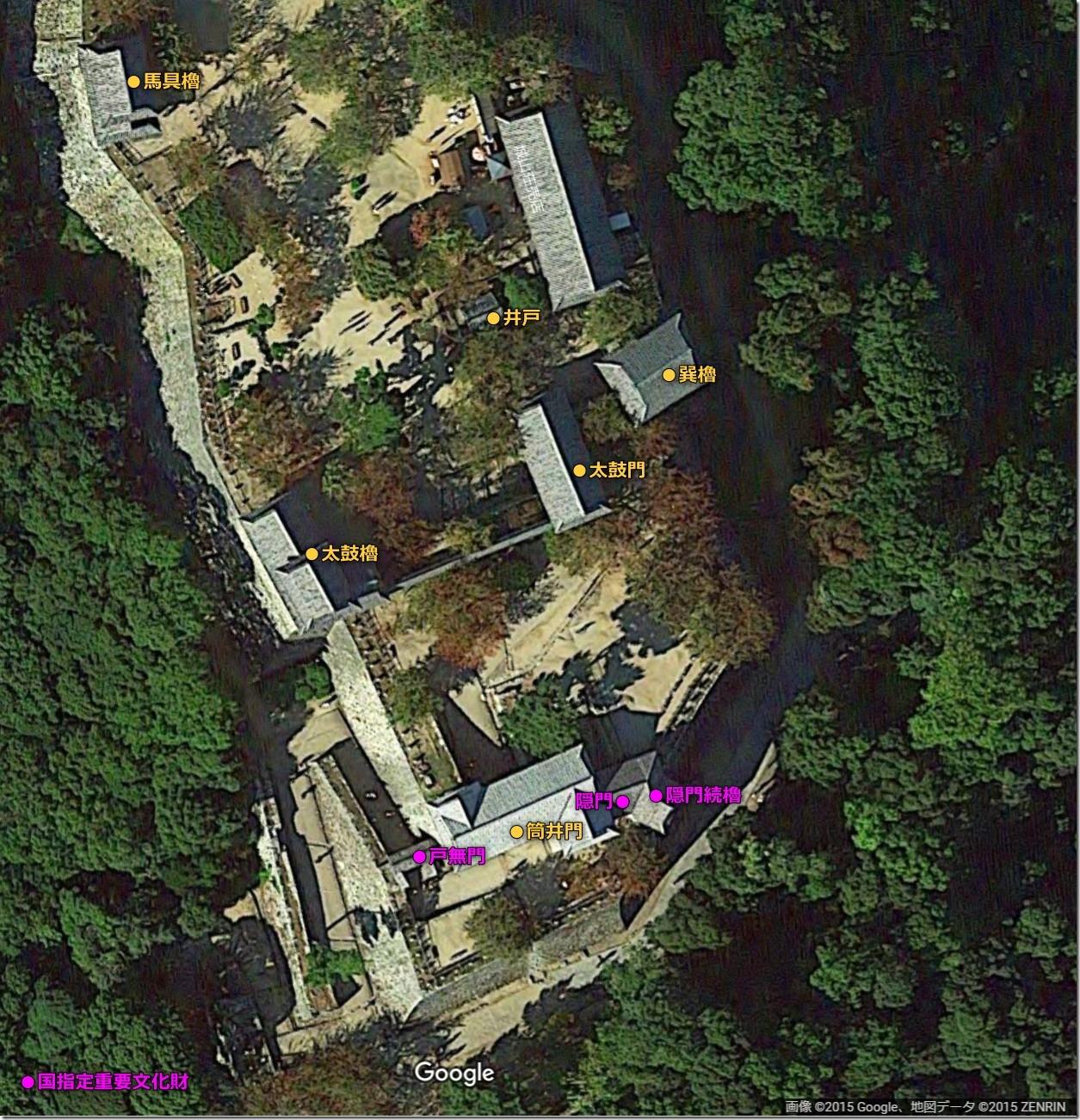 松山城本丸南側案内図